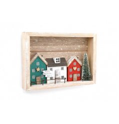 Complete with festive decals and rustic finishes, this plaque is sure to bring a charming touch to your home at Christm