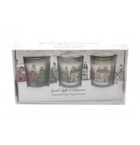 A set of small glass candle pots set within a charming Nordic Village inspired packaging