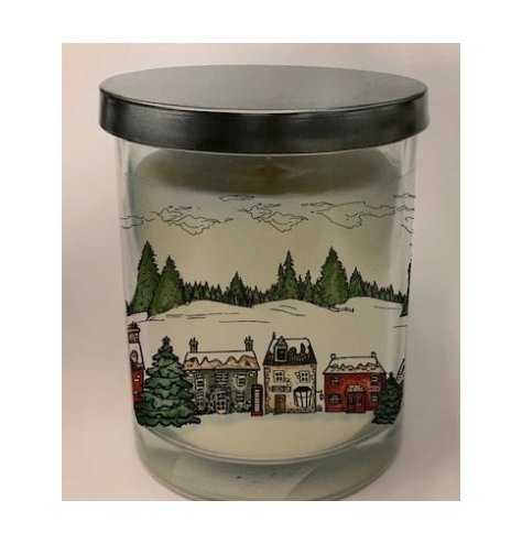 A small glass candle pots set within a charming Nordic Village inspired packaging