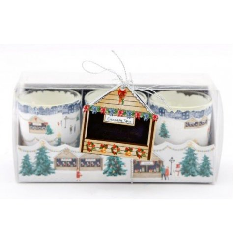 A set of small scented wax candle pots, set with a charming Nordic Village inspired packaging
