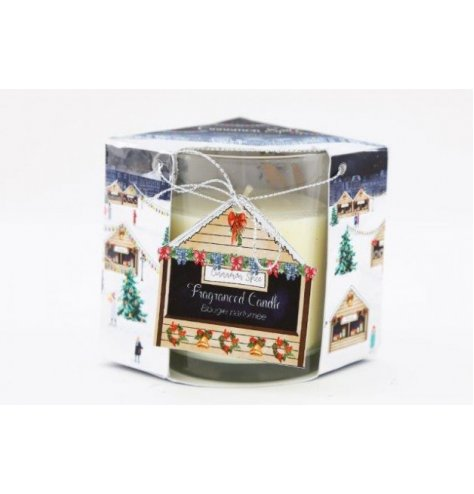 A small scented candle within a charming Christmas Town inspired packaging