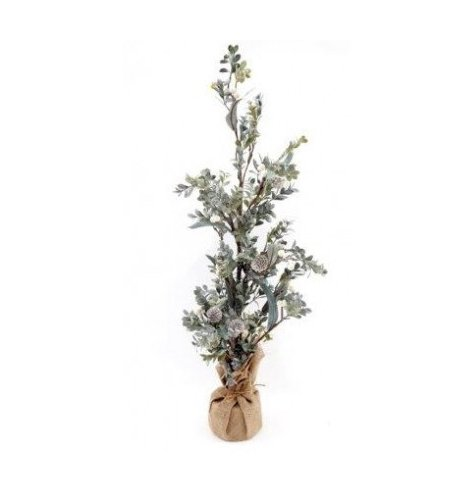 An artificial Sage and Snowberry covered tree with added frosted glitter and set in a hessian wrapped pot
