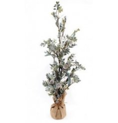 Set within a hessian wrapped pot, this decorative artificial tree is perfect for bringing to the home wanting a wintery