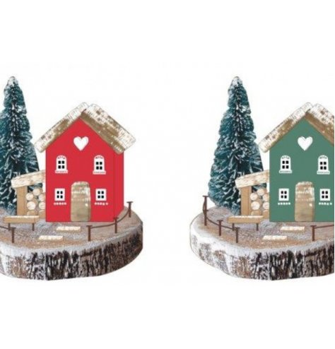A wooden based village scene mix set with nordic tones and festive decals around it