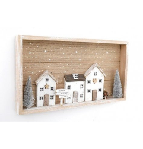 A wooden based framed plaque complete with a charming Winter Scene central decal