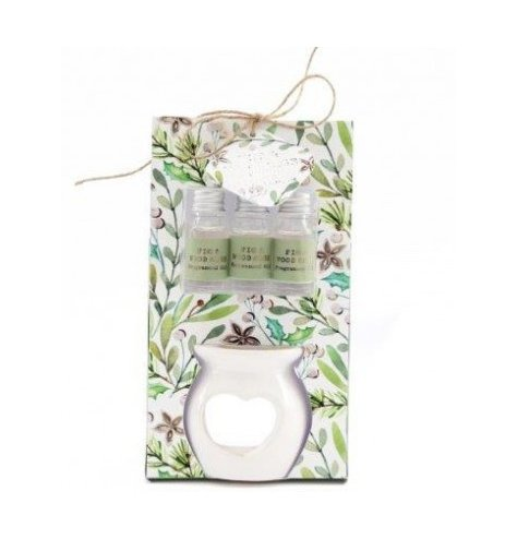 A festive themed oil burner set from our new Alpine Fig and Woodsage scented range