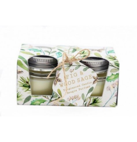 A festive themed set of mini candles from our new Alpine Fig and Woodsage scented range