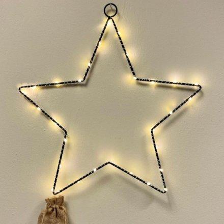 Black Wire LED Star, 75cm