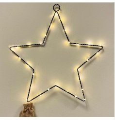 A stunningly simple black wire star entwined with warm glowing LED Lights