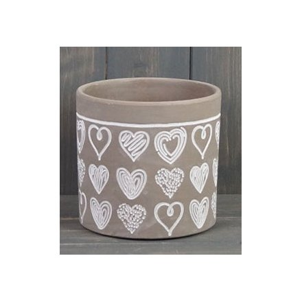Cement Pot With Embossed Heart Decal, 14cm
