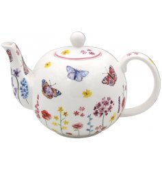 this Fine China Teapot features a delightful floral and butterfly decal from the Butterfly Garden Range
