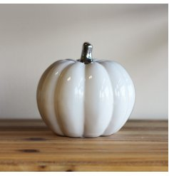 A gorgeously simple white toned ceramic pumpkin with a silver stem to finish