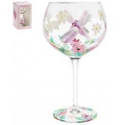 A large gin glass, beautifully detailed with a hand painted Dragonflies design