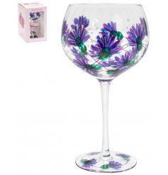 Perfect for bringing a hint of Spring to your tipples, a large gin glass with a hand painted thistle finish to it