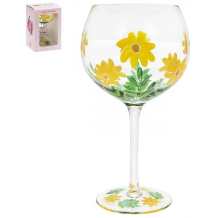 Hand Painted Gin Glass, Daisies