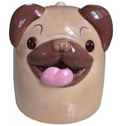 A ceramic mug with a Cutimals Pug Decal to it