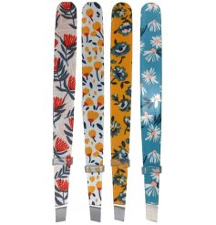 A mix of pretty floral patterned metal tweezers from the Botanical Pick of the Bunch Range