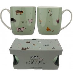 Perfect for sharing a coffee or tea break with someone! A set of 2 ceramic mugs from the Willow Farm range