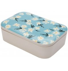 A pretty and colourful themed bamboo based lunch box