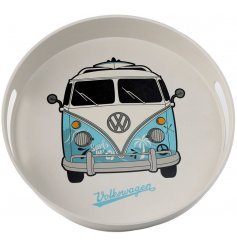 A round bamboo based tray set with a cool blue toned VW Camper central decal
