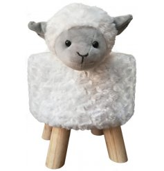 A large and plush woolly sheep stool with simple wooden legs