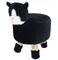 A large and plush Black Cat stool with simple wooden legs