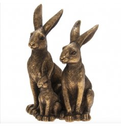 A bronze toned Resin based Hares and Baby Ornament, complete with intricate detailing