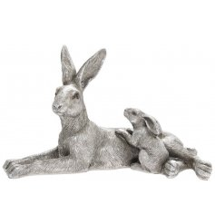 A silver toned Resin based Hare and Baby Ornament, complete with intricate detailing