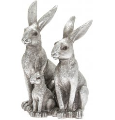 Part of the stunning Leonardo Range, an ornamental set of 3 posed hares in a silver tone