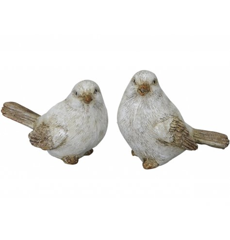 A mix of posed bird figures with realistic details and a rustic charm to complete the look