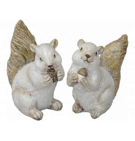 A mix of posed squirrel figures with realistic details and a sleek glittery touch to complete the look