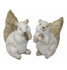 A charmingly festive themed mix of posed Squirrel Ornaments, each complete with a glittery coating