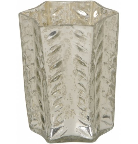 A gorgeously vintage themed glass tlight holder with a mottled gold decal and added ridge finish