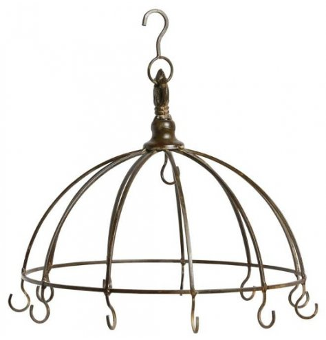 A hanging metal display unit, perfect for showing off baubles and pretty hanging decorations around your home or shop