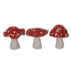 An assortment of shaped Toadstool mushrooms, each set with a smooth glaze finish