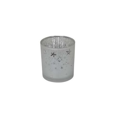 A decorative frosted glass candle holder set in a silver inner tone and etched star decal