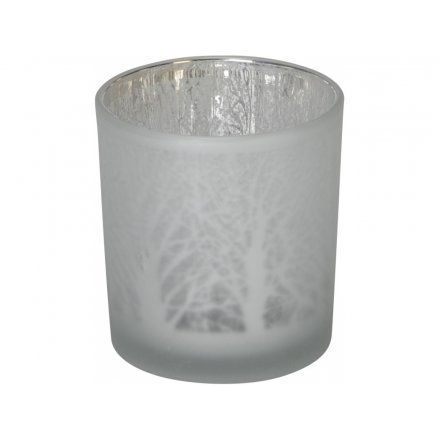 7.5cm Frosted T-light Holder, Twig Tree