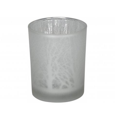 A decorative frosted glass candle holder set in a silver inner tone and etched woodland decal