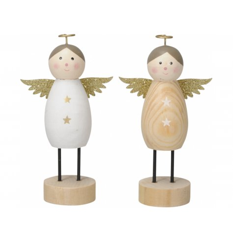An assortment of wooden based angel decorations, each complete with glittered wings