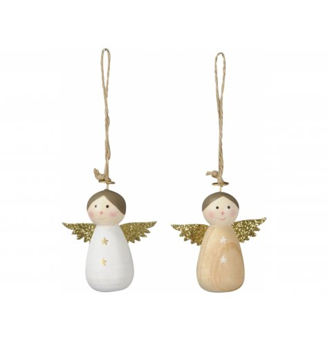 An assortment of wooden based hanging angel decorations, each complete with glittered wings and a jute string hanger
