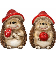 An adorable assortment of small hedgehog ornaments, complete with charming toadstool hats!