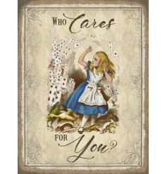 A vintage mini metal sign with a popular Alice in Wonderland quote and picture illustration.