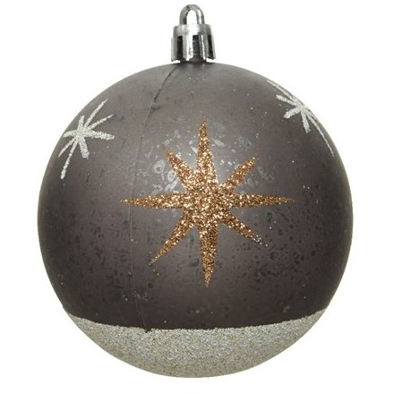 A shatterproof bauble set with a stunning metallic inspired base tone and added glitter stars to finish