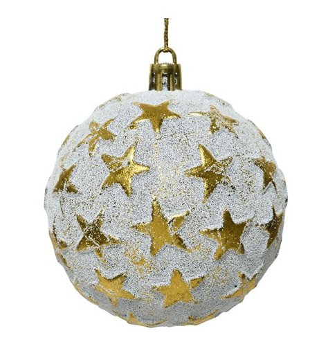An antique themed shatterproof bauble set with a gold star design and rough base look