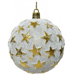 A shatterproof bauble set with a stunning distressed white base tone and added bold gold stars to surround it