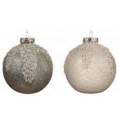 An assortment of shatterproof bauble set with sleek icicle finish to both