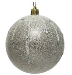 A stunning bauble with a silver icicle design and added drip glitter finish