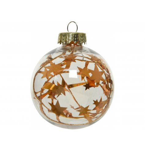 A stunning clear glass bauble, decorated with a gold star inner decal