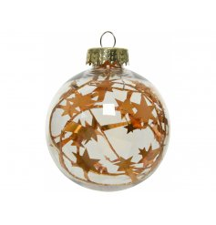 A chic and simple clear bauble, set with a golden star tinsel centre