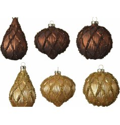 Sure to add a luxe hint to any tree display at Christmas Time, an assortment of shaped and coloured hanging glass bauble